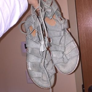 Neutral green lace-up sandals NEVER WORN
